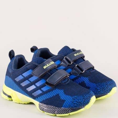 Детски маратонки в син цвят с две лепки- BULLDOZER v81056-35s
