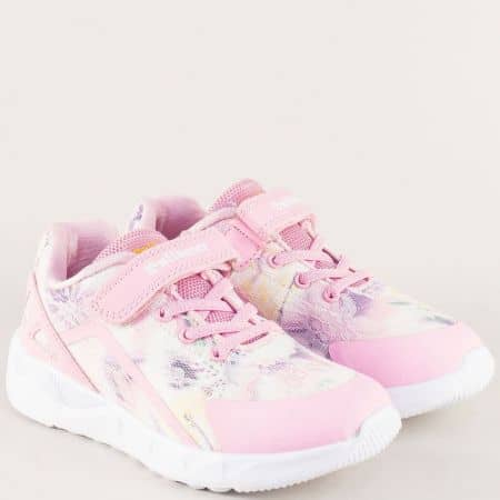 Детски маратонки в бяло и розово с връзки и лепка v81058-35rz
