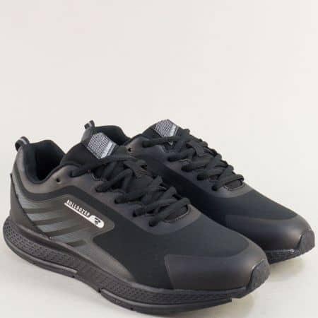 Мъжки маратонки  в черен цвят с връзки- BULLDOZER v82007-45ch