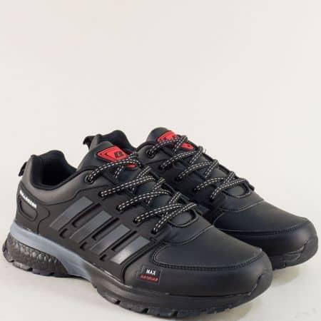 Мъжки маратонки в сиво, червено и черно- BULLDOZER v82040-45ch