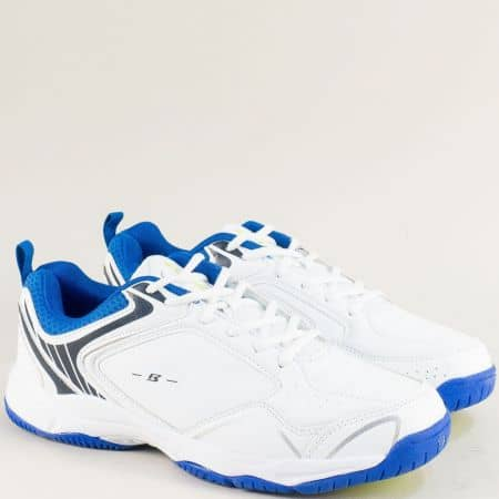 Бели мъжки маратонки с връзки- BULLDOZER v91073-45bs