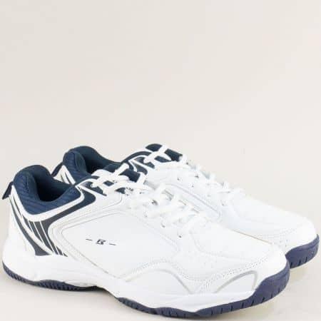 Мъжки маратонки в бяло и тъмно синьо- BULLDOZER v91073-45bts