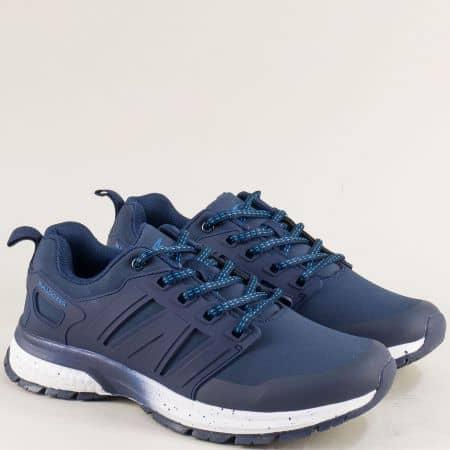 Спортни дамски обувки с връзки в син цвят- Bulldozer v92001-40s
