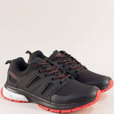 Спортни мъжки обувки с връзки в черен цвят- Bulldozer v92001-45chchv