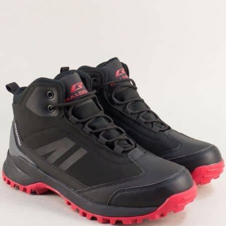 Мъжки маратонки в червено и черно- BULLDOZER v92026-45chchv