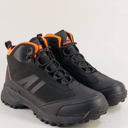 Спортни мъжки боти в черно и оранж- BULLDOZER v92026-45cho