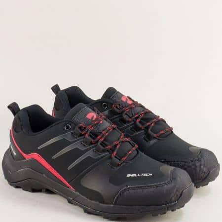 Мъжки маратонки в червено и черно с връзки- BULLDOZER v92051-45chchv