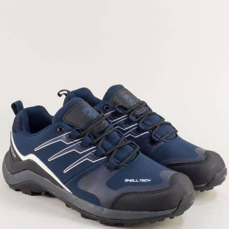 Мъжки маратонки в синьо и черно с връзки- BULLDOZER v92051-45s