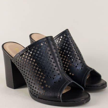 Черни дамски чехли с перфорация на висок и стабилен ток wj23ch