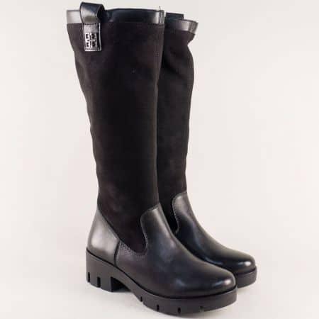 Дамски ботуши на нисък ток с грайфер в черен цвят x2051vch