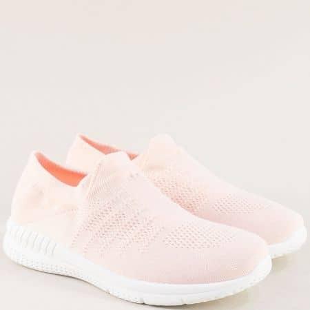 Спортни дамски обувки в розов цвят на равно ходило yj303rz