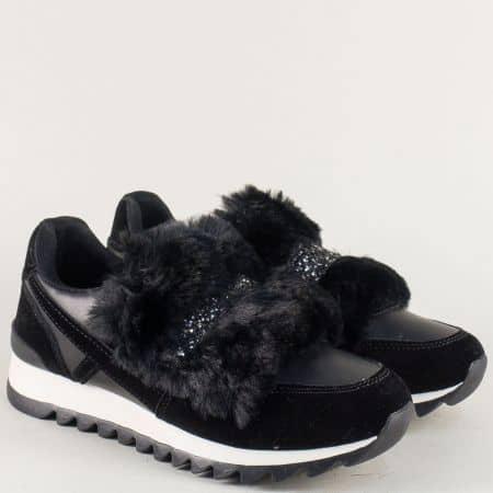 Дамски маратонки в черен цвят с блясък и пухче ykq6ch