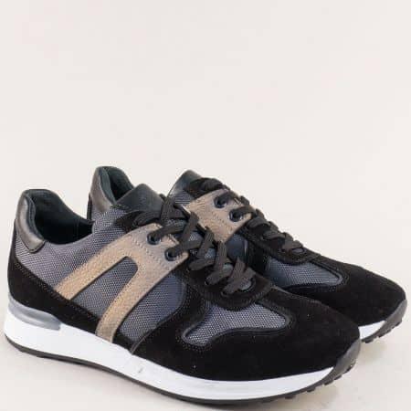 Черни мъжки маратонки с кожена стелка- NATURELLE z101ch