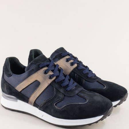 Сини мъжки маратонки с кожена стелка- NATURELLE z101s