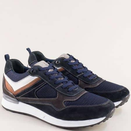 Сини мъжки маратонки- NATURELLE с кожена стелка z102s