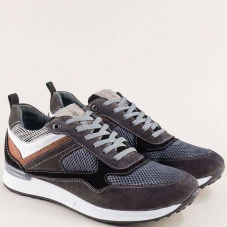 Сиви мъжки маратонки- NATURELLE с кожена стелка z102sv
