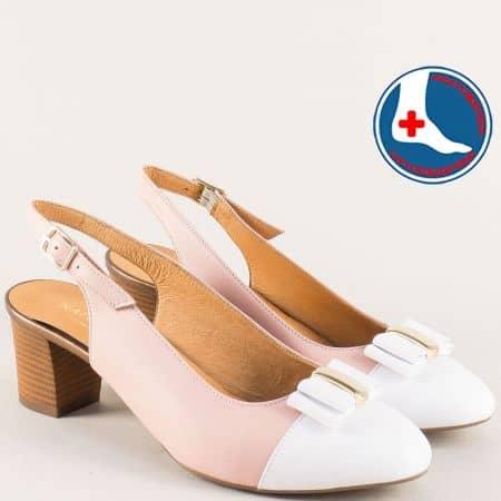 Дамски обувки в бяло и розово от естествена кожа z1225brz