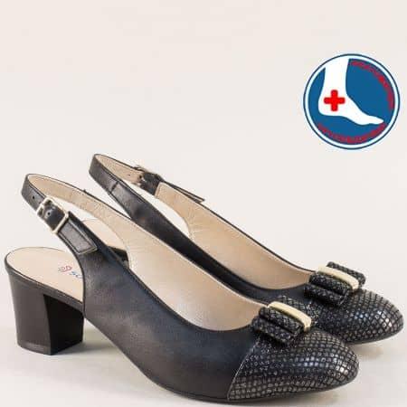 Черни дамски обувки с отворена пета и среден ток z1225chzch
