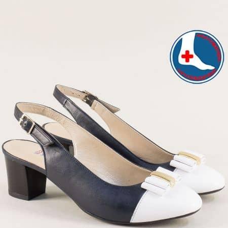 Ортопедични дамски обувки в бяло и синьо- Naturelle z1225sb