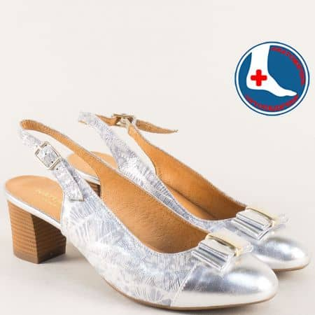 Сребристи дамски обувки от естествена кожа на среден ток z1225srps