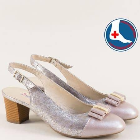 Розови дамски обувки с отворена пета от естествена кожа z1225srrz