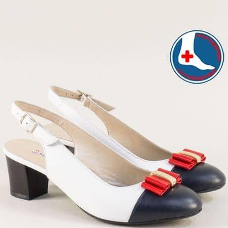 Дамски обувки с отворена пета в бяло, синьо и червено z1225tomi