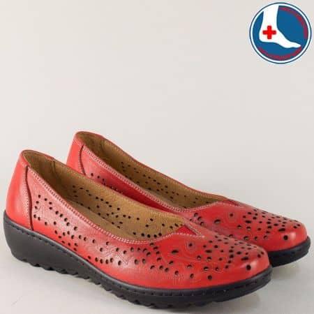Анатомични дамски обувки от червена естествена кожа z166chv