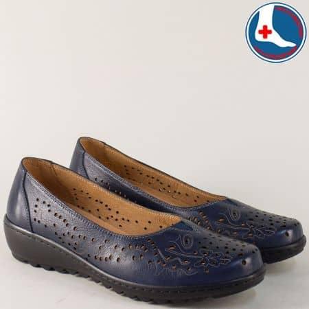 Шити дамски обувки с перфорация в син цвят- Naturelle z166s