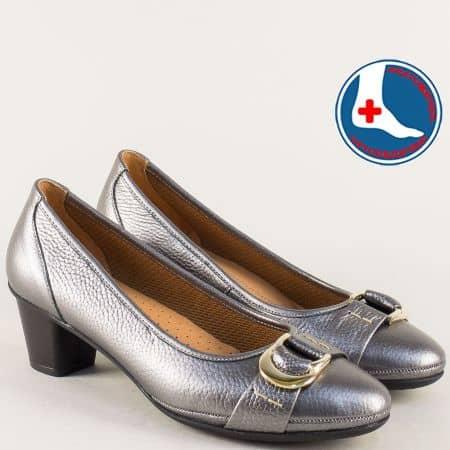 Бронзови дамски обувки на среден ток от естествена кожа z173010brz