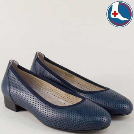 Кожени дамски обувки в син цвят с перфорация- Naturelle z173803s