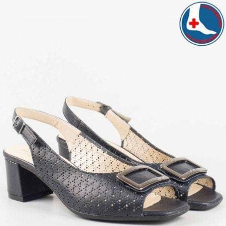 Перфорирани дамски сандали на среден ток в син цвят с кожена ортопедична стелка- Naturelle от естествена кожа изцяло  z1904s