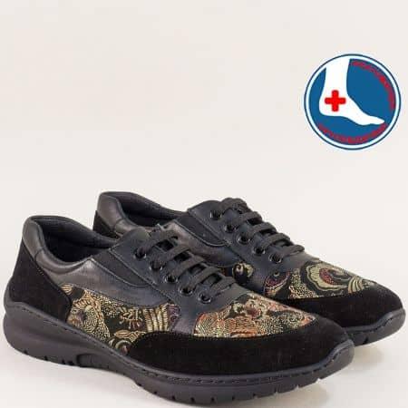 Черни дамски маратонки от естествен велур и кожа z1909chps