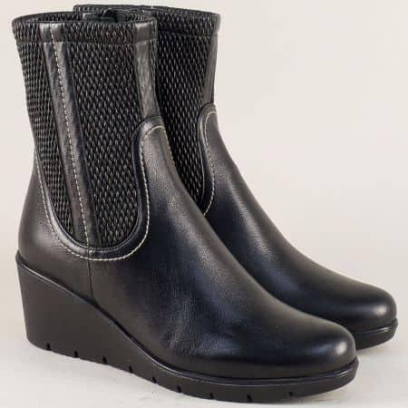 Черни дамски боти Naturelle от естествена кожа с ортопедично ходило  z191704ch