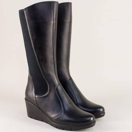 Дамски ботуши на клин ходило в черен цвят z191707ch