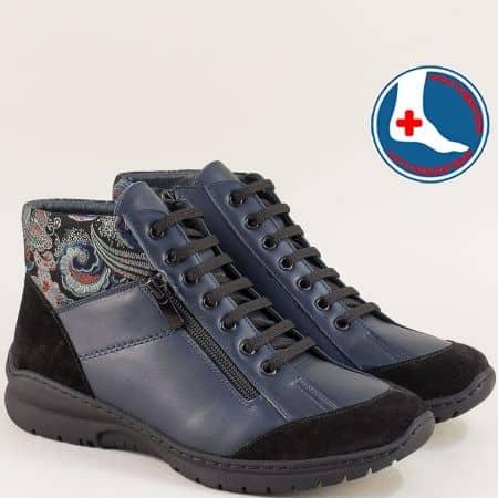 Сини ортопедични дамски обувки от естествени материали z19209sps