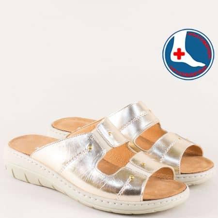 Златни дамски чехли на платформа от естествена кожа z2167zl