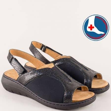 Черни дамски сандали с кожена стелка на платформа  z2169ch