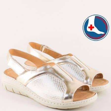 Златни дамски сандали с кожена стелка на платформа z2169zl