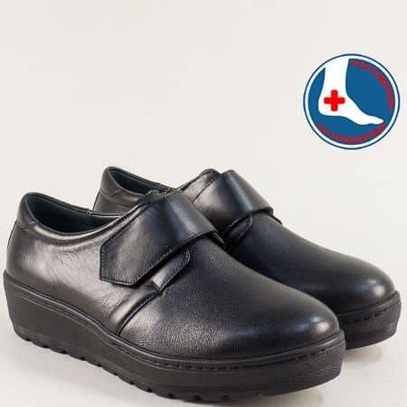 Дамски обувки на платформа от естествена кожа в черно z2302ch