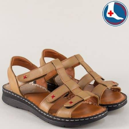 Анатомични дамски сандали от бежова естествена кожа z240317bj