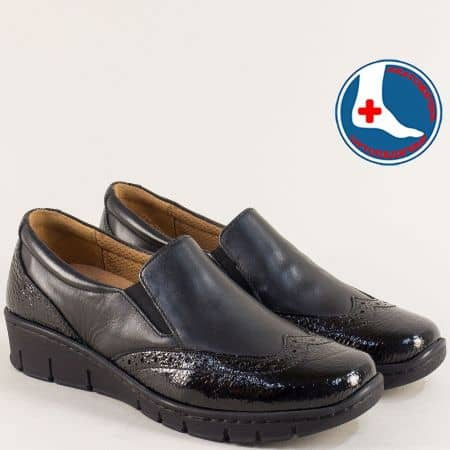 Черни дамски обувки от естествен лак и кожа- Naturelle z242ch
