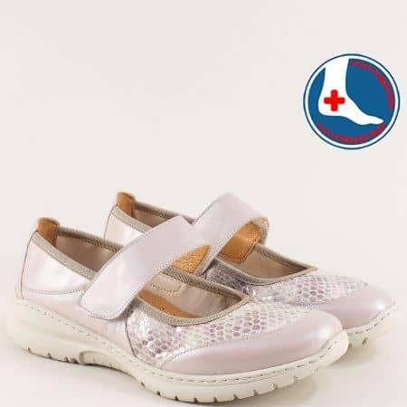 Бежови дамски обувки с лепка от естествен лак и кожа  z270317bjps