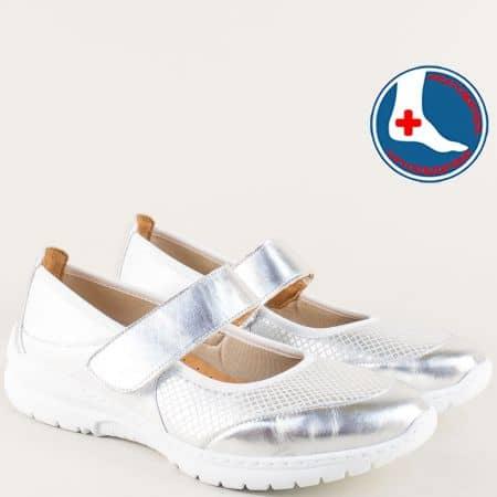 Анатомични дамски обувки в бяло и сребро- Naturelle z270317bsr
