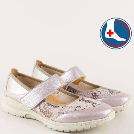 Анатомични дамски обувки от естествена кожа в розов цвят  z270317rz