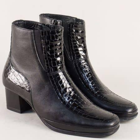 Черни дамски боти от естествен лак и кожа- Naturelle z2710lch