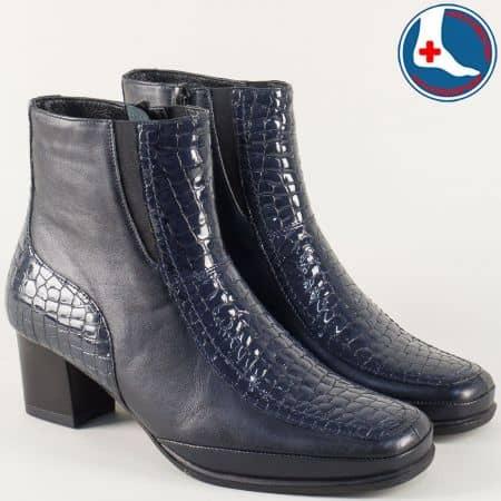 Сини дамски боти от естествена кожа и естествен кроко лак z2710s