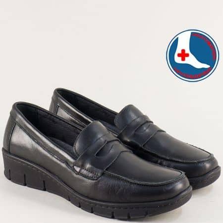 Анатомични дамски обувки от естествена кожа в черен цвят z315ch