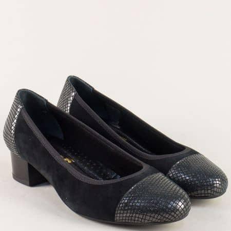 Дамски обувки от естествена кожа и велур в черно с ортопедична стелка z5172802vch