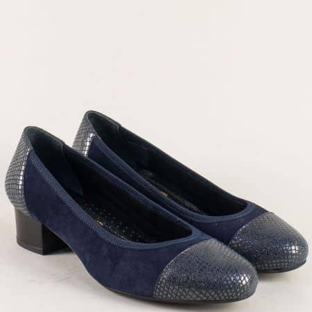 Сини дамски обувки от естествен велур и кожа- Naturelle  z5172802vs
