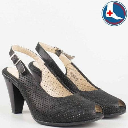 Анатомични дамски сандали в черен цвят- Naturelle на висок ток от естествена кожа с перфорация  z68080ch